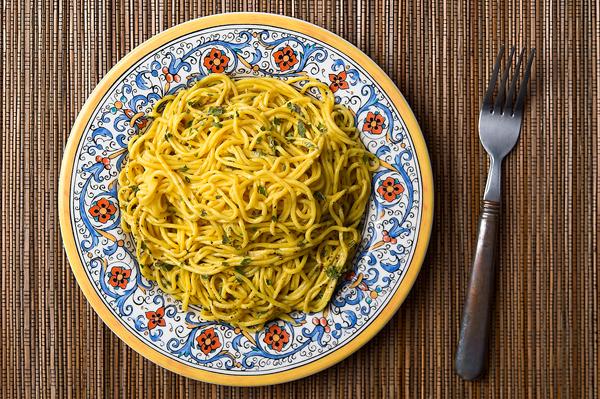 cattail pollen pasta recipe